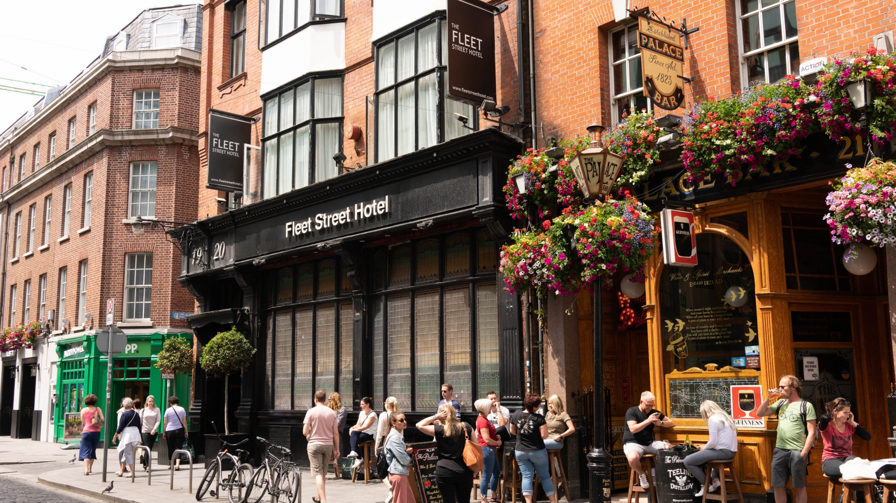 It's more than a bit touristy, but the streets surrounding the Temple Bar area are worth a walk.